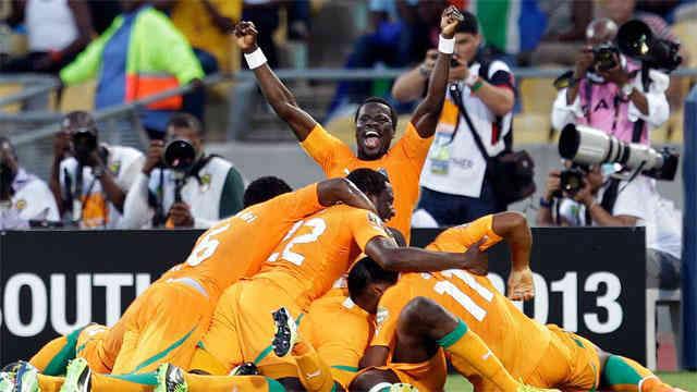 The Ivory Coast team celebrate their victory