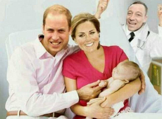 John Terry pictured as an ecstatic doctor celebrating the birth of Royal Baby with William and Kate