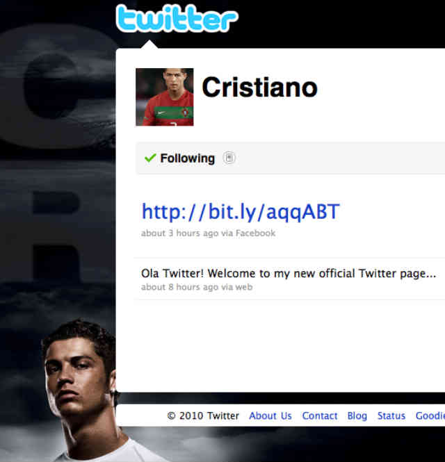 Ronaldo today is the highest followed football player on Twitter
