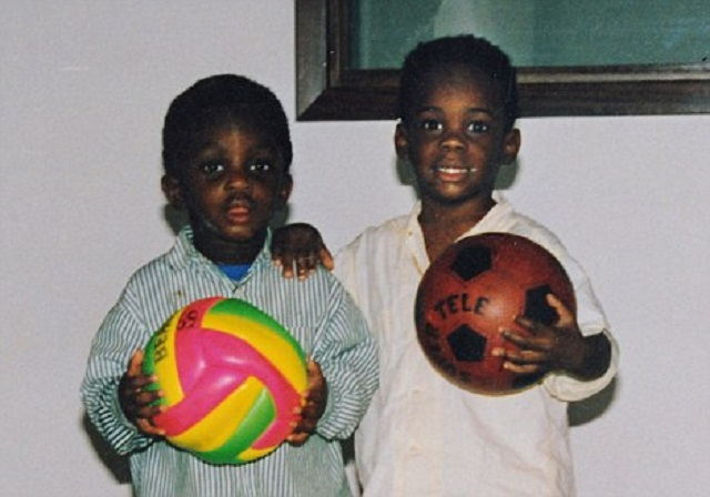 Super Mario is born-Balotelli (right) aged three years old.
