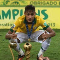 Neymar celebrates the Confederations Cup and the Golden Ball as the tournament's top player