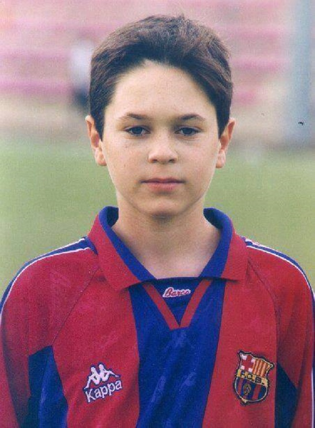 Andres Iniesta when he was a kid playing football