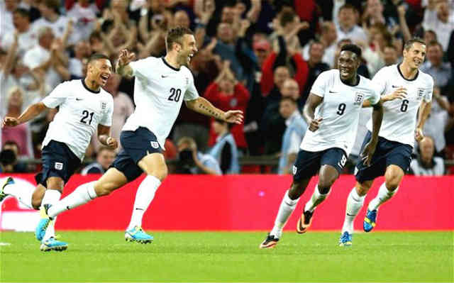 England celebrate their winning goal!