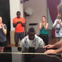 Mario Balotelli shares his skills on the piano with playing the Italian anthem