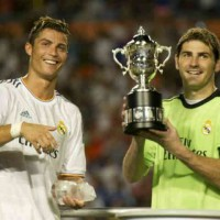 Ronaldo and Casillas celebrate their win for the Guinness Cup