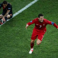 Ronaldo celebrates his amazing goal in finals minutes of the game