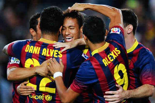 Barcelona celebrate with Neymar with his first goal in the La Liga