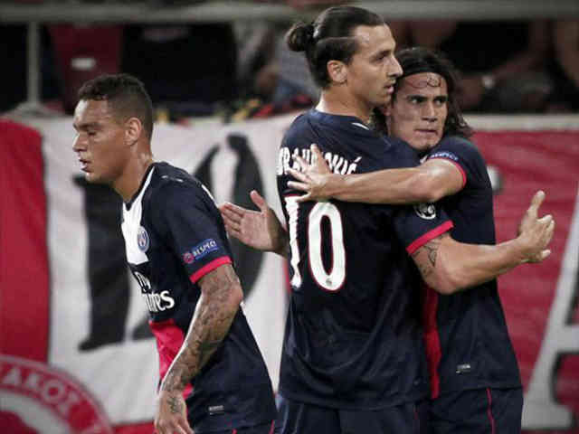 Cavani and Zlatan celebrate their goals