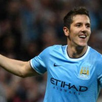 Jovetic celebrates his goal with Manchester City