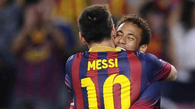 Neymar celebrates his friend Lionel Messi