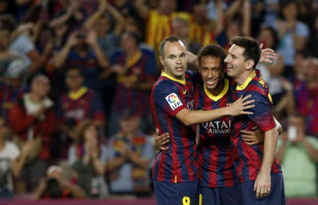 Neymar enjoys his celebration with his goal he made in the La Liga