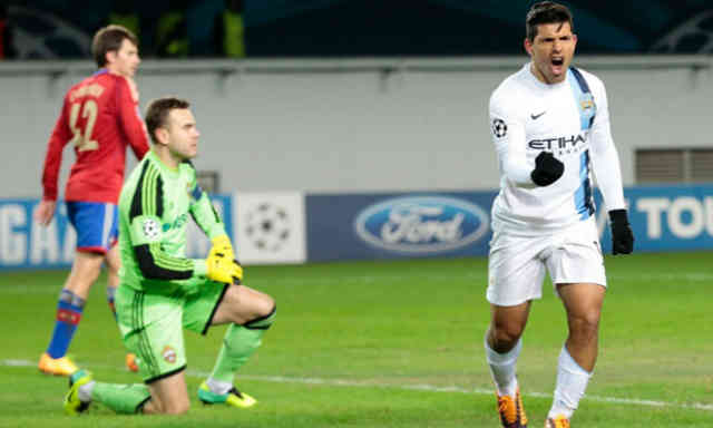 Aguero brings Manchester City their victory against the Russian team
