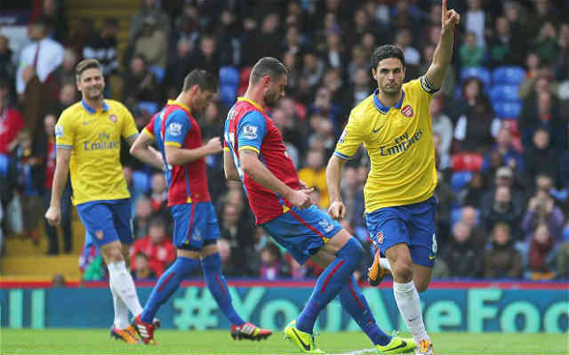 Arteta celebrates his penalty against Crystal Palace