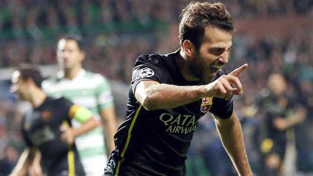 Fabregas celebrates his amazing goal against Celtic