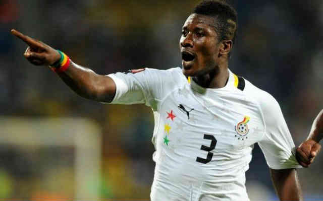 Gyan celebrates his smashing goal against Egypt