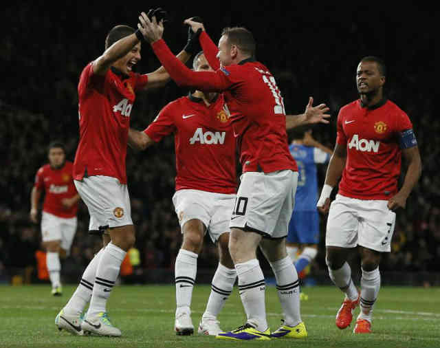 Manchester United celebrate with their win in the Champions League