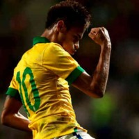 Neymar celebrates his goal once again for Brazil