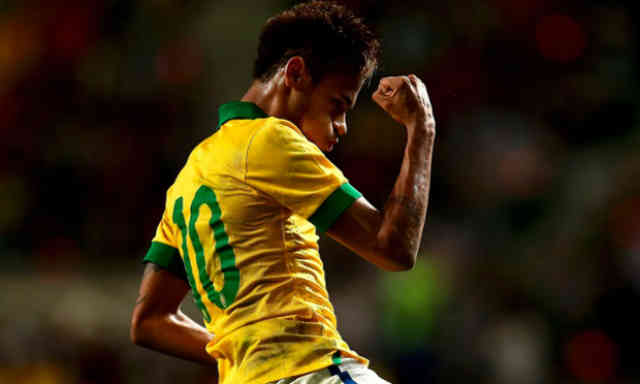 Neymar celebrates his goal once again for Brazil