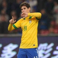 Oscar celebrates his amazing goal against the Africans, Zambia