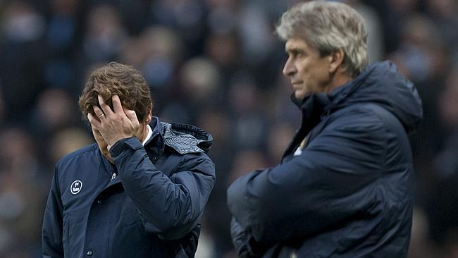 Spurs boss Andreas Villas Boas despondent, while Manuel Pellegrini delights in his sides win