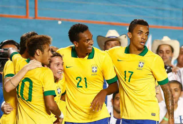 Brazil youngsters celebrate their goal and victory