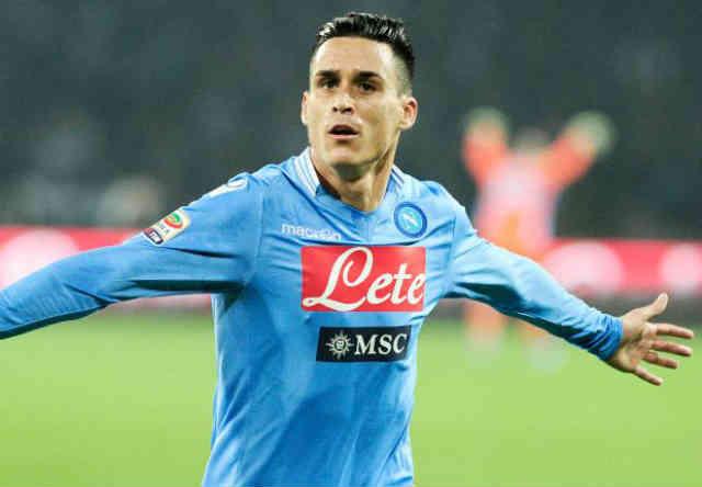 Callejon celebrates his opener goal for Napoli