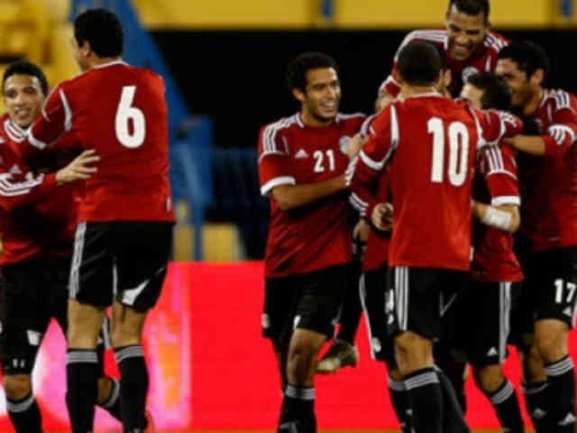 Egypt celebrate their win against Zambia