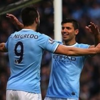 Alvaro Negredo and Sergio Aguero celebrate another goal