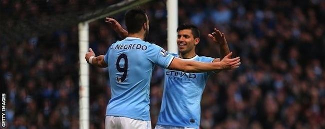 Alvaro Negredo and Sergio Aguero celebrate another goal