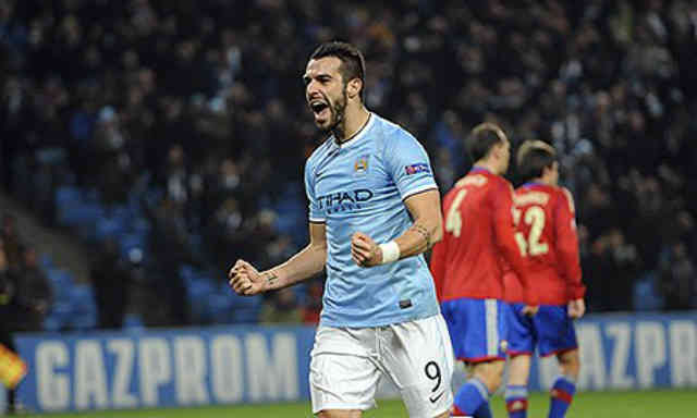 Negredo celebrates his hat trick against Moscow