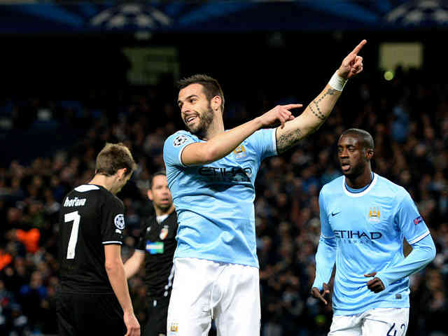 Negredo scores the third goal in the Champions League for Manchester City