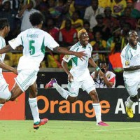 Nigeria celebrate their spot to the World Cup 2014