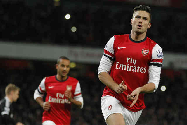 Olivier Giroud continues to score more goals for the Gunners