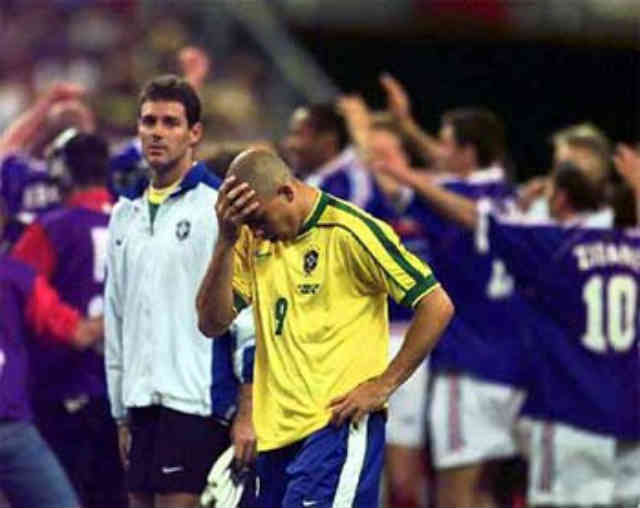 Ronaldo upset in 1998 as France beat Brazil in the finals at the World Cup 98