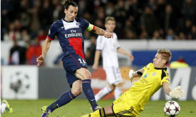 Zlatan comes to the rescue for his team in the Champions League