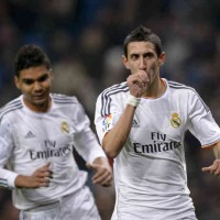 Di Maria celebrates his penalty in the Cop del Rey