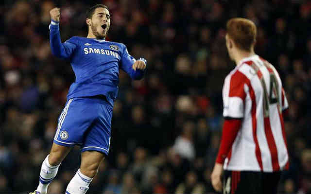 Eden Hazard gets his double for the Blues against Sunderland