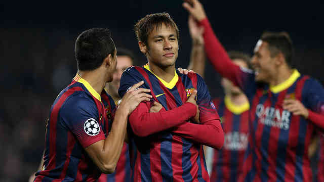 Neymar manages to get his hat trick against Celtic in the Champions League