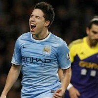 Samir Nasri celebrates his goal for Manchester City