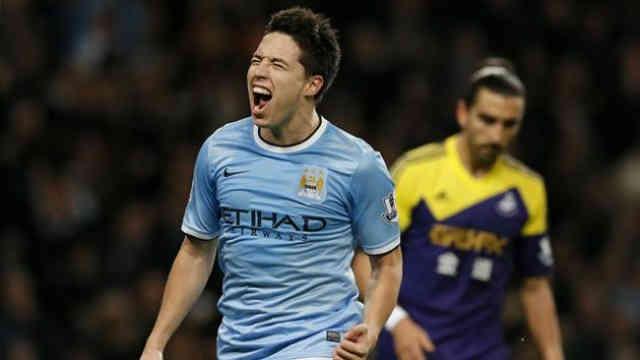Samir Nasri celebrates his goal for Manchester City