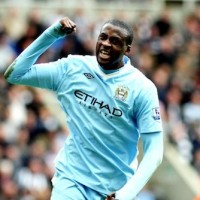 Manchester City and Ivory Coast star Yaya Toure celebrates