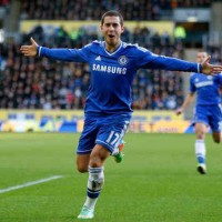 Eden Hazard celebrates his goal against Hull City