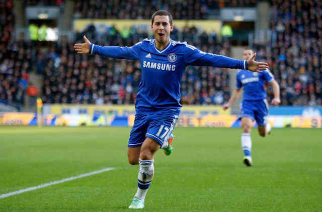 Eden Hazard celebrates his goal against Hull City
