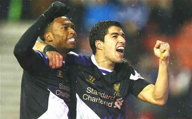 Suarez and Sturridge both celebrate their goals against Stoke City