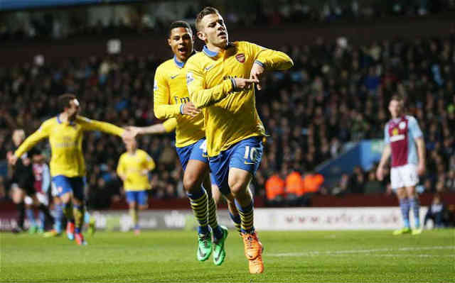 Wilshere gets opener goal against Aston Villa