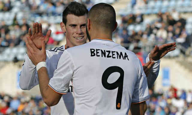 Benzema celebrates his goal with his buddy Gareth Bale