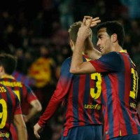 Busquets celebrates his goal at the Copa del Rey