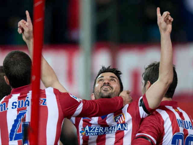 David Villa opens up for Altetico Madrid and get a win