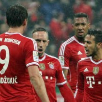 Franck Ribery goes celebrates with the German giants his goal