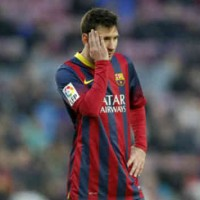 Lionel Messi with the lose for FC Barcelona